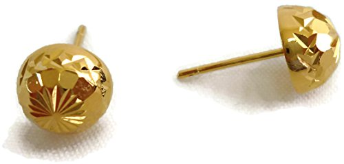 Gold Plated 9 mm Fancy Round Half Ball Button Studs Earrings #L2 ()