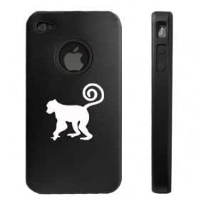 Apple iPhone 4 4S 4 Black D3079 Aluminum & Silicone Case Cover Monkey