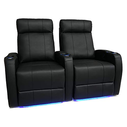Premium Italian Leather Recliner - Valencia Syracuse Premium Top Grain 9000 Leather Power Recliner LED Lighting Home Theater Seating (Row of 2)