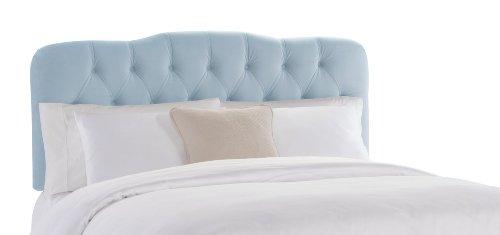 Skyline Furniture Surrey Twin Tufted Headboard, Pool Velvet - Upholstered Headboard Velvet Pool