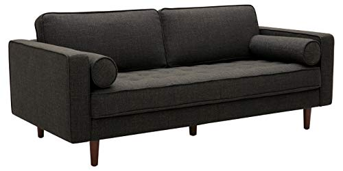 "Rivet Aiden Mid-Century Sofa with Tapered Wood Legs, 74""W, Dark Grey"