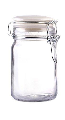 Home Basics Mini Clasp Glass Jar with Ceramic Top (White)
