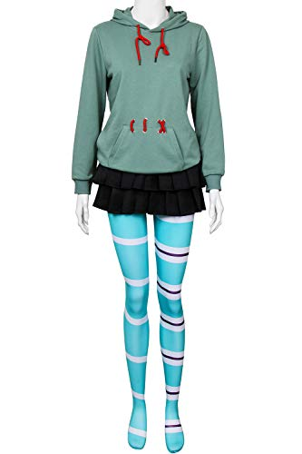 PartyEver Vanellope von Schweetz Cosplay Costume Wreck It Ralph Breaks Halloween Party Hoodie Full Set Suit (Large)]()
