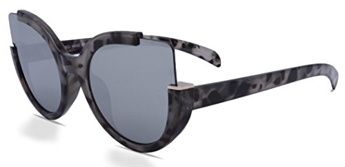 Designer Sunglasses Cat Eye Over sized Rimless (Marbled Black - York Vintage New Sunglasses