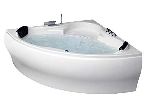 whirlpool badewanne karibik basic made in germany 140 x 140 150 x 150 cm mit 13 massage dusen unterwasser beleuchtung licht balboa mit armaturen
