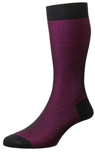 Pantherella Mens Santos Shadow Rib Cotton Lisle Socks - Charcoal/Fuchsia - ()