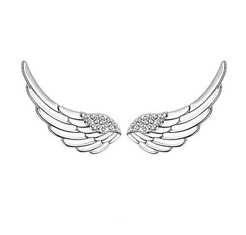 S295 Sterling Silver Ear Climber Crawler Angel Wings CZ Cuff Stud Earrings -
