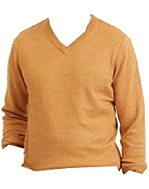 Mens Small Ribbed Trim Long-Sleeve V-Neck Sweater Yellow S