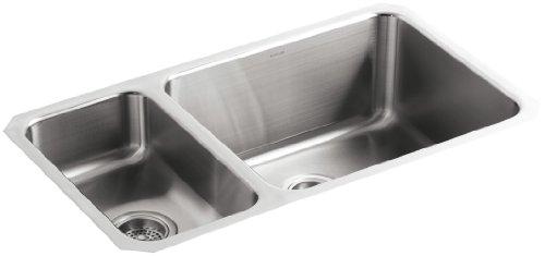 KOHLER K-3174-L-NA Undertone High/Low Undercounter Kitchen Sink, Stainless Steel