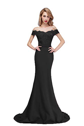 honey qiao Black Off The Shoulder Mermaid Bridesmaid Dresses Long Prom Party Gowns