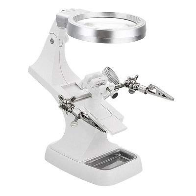 FidgetGear 3X 4.5X LED Helping Hand Magnifying Soldering Iron Stand Lens Magnifier Tool White from FidgetGear