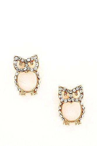 Trendy Fashion Jewelry Owl Cavity Rhinestones Earrings By Fashion Destination   (Rose Gold)