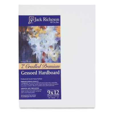 Jack Richeson 2-Inch Premium Tempered Gessoed Hardboard Panel, 9-Inch by 12-Inch