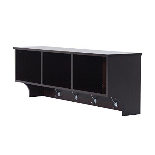 HOMCOM 48 Modern Floating Combination Storage Shelf Cubby Coat Rack - Dark Brown