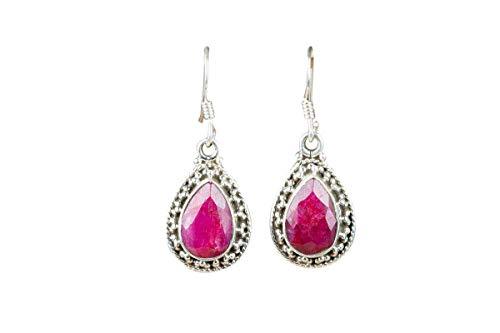 Ruby Earring 925 Silver Sterling Earring Pear Stone Earrings Red Jewelry Handmade Jewelry Graceful Earrings Baguette Earrings Valentine Day Gift Jewelry Very Hot Looking Earrings Very Hottest Jewelry