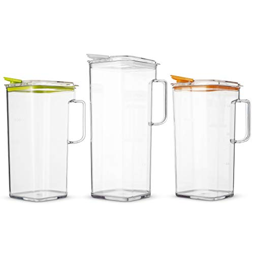 Komax Clear Large Tritan Pitcher with Lid | 77 Oz - 2.4 Quart (Full Capacity Jug) | Great Carafe for Water, Juice, Ice Tea, Lemonade, Sangria & Milk | Airtight, BPA Free, Square Shape Water Pitcher by Komax (Image #5)
