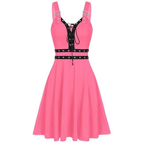 Xmiral Gothic jurk voor dames, mouwloos, veters, camisole mini-jurk, hoge taille, punkjurk