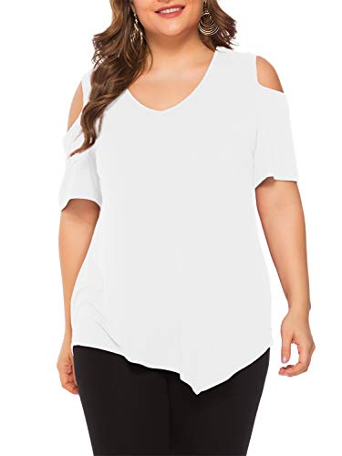 Amoretu Summer Cold Shoulder Tunic Tops Casual T-Shirt for Women Plus Size(White,4XL)]()