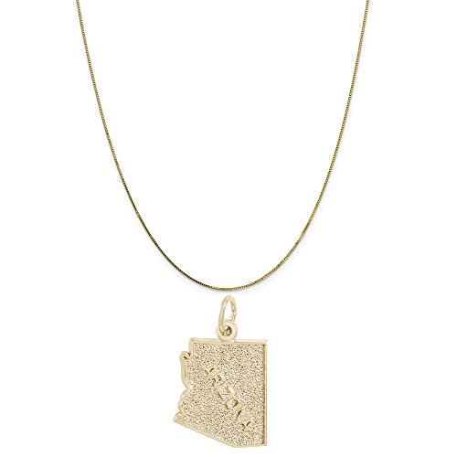 Rembrandt Charms 10K Yellow Gold Arizona Charm on a 10K Yellow Gold Box Chain Necklace, 18
