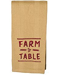 Farm to Table 19 x 28 All Cotton Embroidered Waffle Kitchen Towel