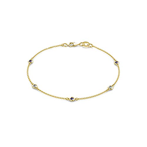 - TriJewels Petite Iolite and Diamond (SI2-I1, G-H) 5 Station Bracelet 0.21 cttw in 14K Yellow Gold