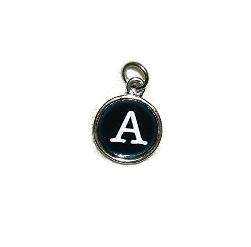 TYPEWRITER KEY INITIAL LETTER A CHARMS Silver Plated ALPHABET Pendant Personalized Jewelry