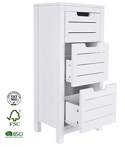 - ChooChoo Bathroom Storage Cabinet, Cute Free Standing Floor Cabinet with 3 Drawers with Stoppers, Wooden Bathroom Cabinet for Bedroom, Living Room, Office -White