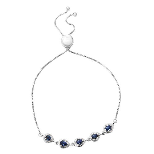 925 Sterling Silver Platinum Plated Pear Blue Sapphire Bolo Strand Bracelet for Women 9.5