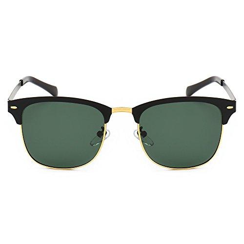 d3c2d913cf1d SUNGAIT Classic Half Frame Clubmaster Sunglasses with Polarized Lens  Ultra-thin Black Frame Green Lens ...