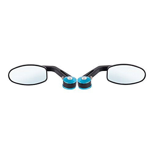 Autofy Acrylic Mounting Universal Side Mirror Set for All Bikes (Set of 2, Black and Blue)