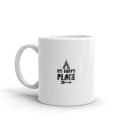 My Happy Place Inspirational Printable Quote With Teepee And Arrow Hand Drawn Phrase Coffee Mug 11 Oz Ceramic ()