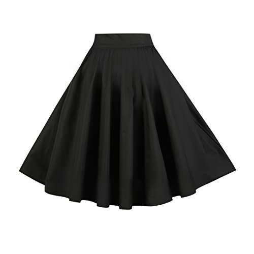 BI.TENCON Women's Black High Waist Pleated A Line Street Skirt Full Midi Skirt with Pockets S (27 Inch Skirt)