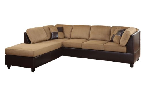 Homelegance 9909BR Comfort Living Sectional Collection with 2 Pillows, Brown Rhino Microfiber and Dark Brown Faux (Dark Brown Rhino)