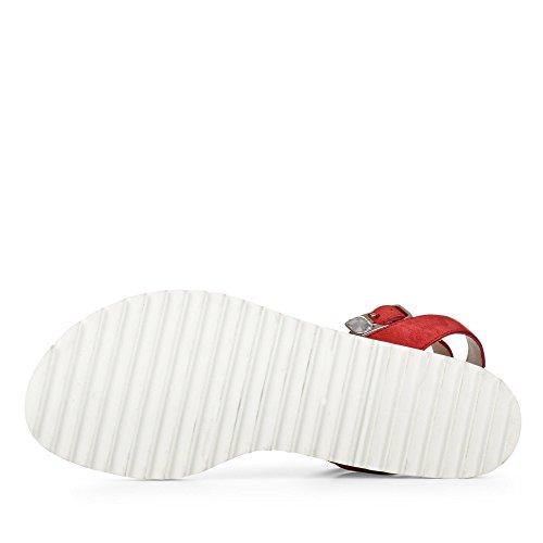 Paul Green 6088-009 Damen Sandale Aus Nubukleder Futter und Innensohle Aus Leder Rot