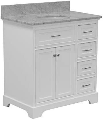 Aria 36-inch Bathroom Vanity Carrara/White : Includes White Cabinet