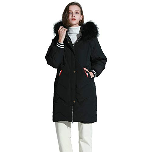 38c5582de18f MOOCARE Women Winter Down Coat with Fur Hood Loose Fit Long Down Parka  Puffer Jacket(