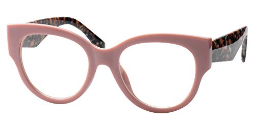 SOOLALA Ladies Modern Fashion Prescription Eyeglass Frame Cat Eye Reading Glass, Pink, ()