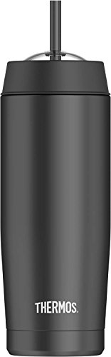 Thermos 16 Ounce Vacuum Insulated Cold Cup with Straw, (Domed Coffee Cup Lids)
