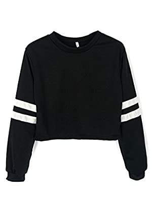 Joeoy Women's Loose Striped Long Sleeve Crop Top Sweatshirt