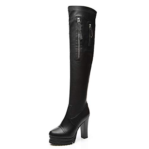 Stiefel Damen Hohe Neu Abend Overknees Stiefel Blockabsatz ZPFMM Hoch Stretch Sexy Oberschenkel P7qww1