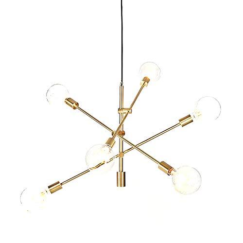 YOKA Pendant Light Polished Gold Contemporary Stem Hung Chandelier Fixture Modern Lamp 6 Lights Hanging Flush Mount (Gold)