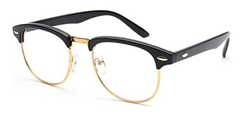 Outray Vintage Retro Classic Half Frame Horn Rimmed Clear Lens Glasses 2135c1 BlackGold