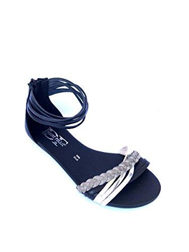 De Vestir Piel Mujer Sandalias Divine Follie Negro Para q1Ow8