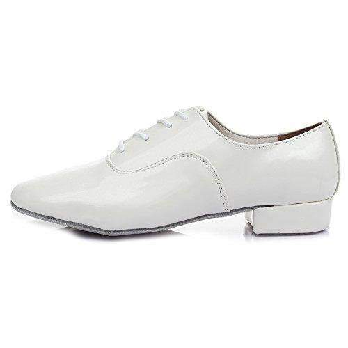 HROYL Bloch Herren Standard Latin / Jazz Tanzschuhe Leder Schnürschuh Ballroom W-703 Weiß