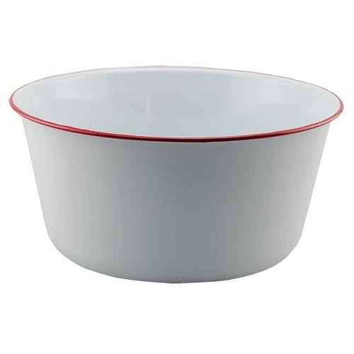 Vintage Style White Enamel Mixing Bowl with Red ()