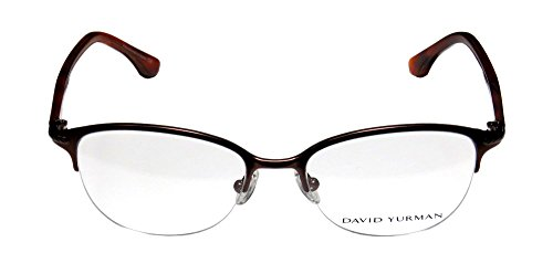 [David Yurman 101 Womens/Ladies Cat Eye Half-rim Titanium Eyeglasses/Glasses (51-17-135, Brown /] (Android 17 And 18 Costumes)