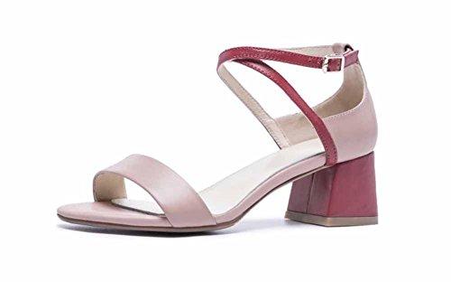 la de de Las Correa Correas de Heels Correa Cuero Rosado de de Toe de Tobillo Mujeres High la Sandalias 2018 Peep Verano Simple S8Fxvf