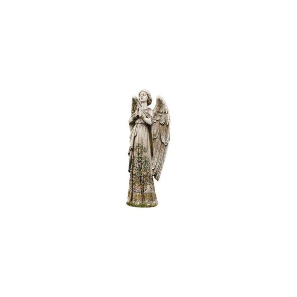 Praying-Angel-with-Ornate-Rose-Design-Dress-24-Inch-Stoneware-Garden-Statue