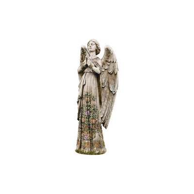 Praying Angel with Ornate Rose Design Dress 24 Inch Stoneware Garden (Garden Figurine Statue)