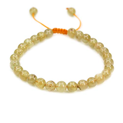 Natural Yellow Green Apatite Gemstone 6mm Round Beads Adjustable Braided Macrame Tassels Chakra Reiki Bracelets 7-9 inch Unisex